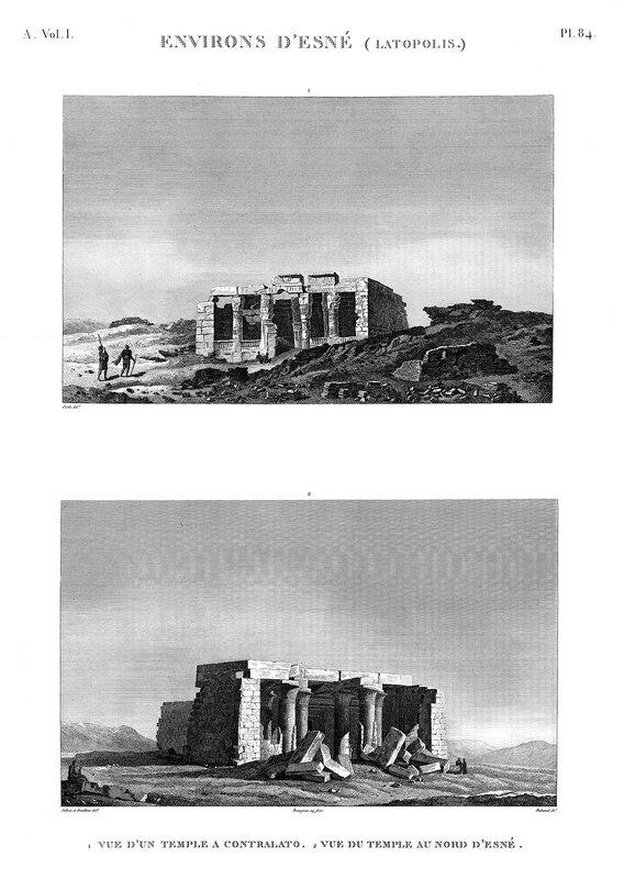 Северный храм бога Хнума в Эсну (Латополь), общий вид, гравюра наполеоновской экспедиции