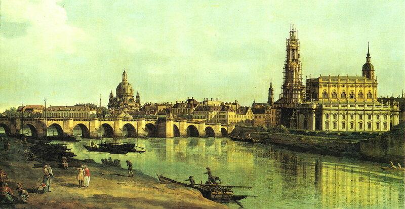 Вид Дрездена с мостом Августа с правого берега Эльбы, 1748 год