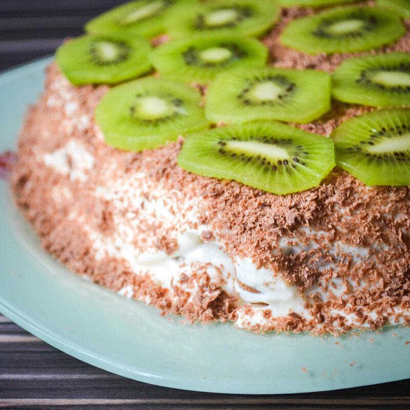 торт с печенья с бананами и сметаной фото и рецепт