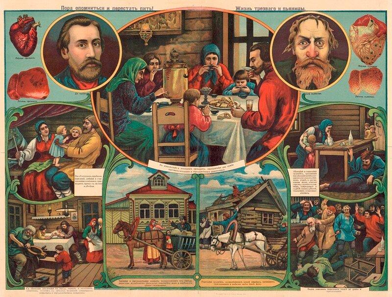старый русский плакат о вреде пьянства