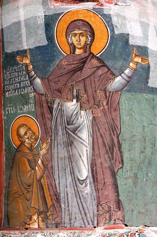 Святой Преподобный Иоанникий Великий, молитвенно предстоящий Божией Матери. Фреска в комплексе Печской Патриархии, Косово, Сербия. 1338 - 1346 годы. Фрагмент.