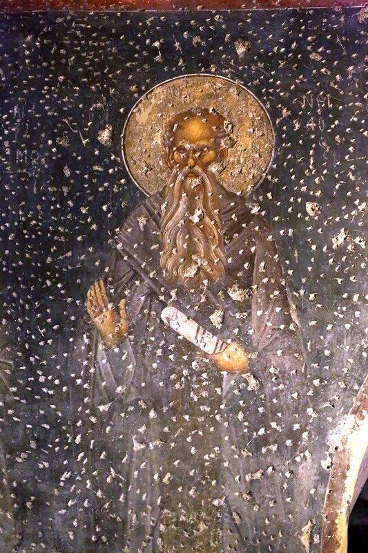Святой Преподобный Нил Постник (Нил Синайский). Фреска церкви Святых Апостолов в Фессалониках, Греция. Начало XIV века.