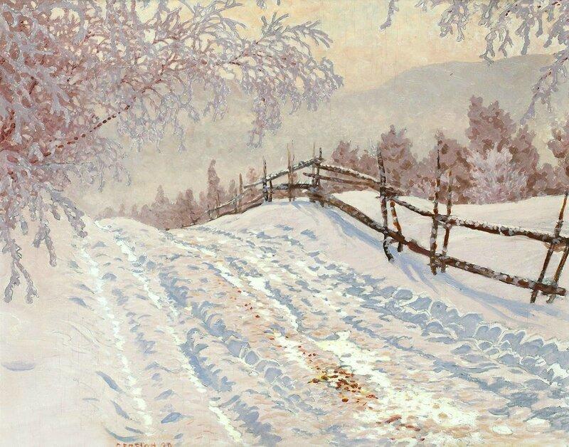 Gustaf Fjaestad. Заснеженная дорога с изгородью. 1930.jpg