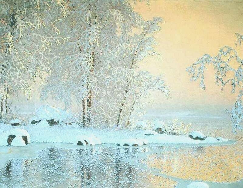 Gustaf Fjaestad. Пейзаж с замёрзшим озером. 1916.jpg