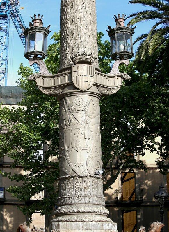 Barcelona. Square Medinaceli, monument Galzerano Brand.
