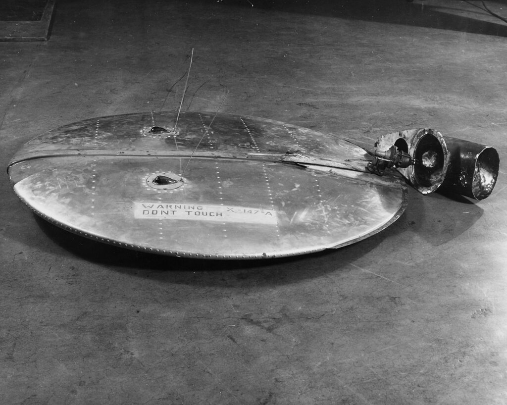 """Flying Saucer"". Found 4 July 1950 near Alice, Texas. Top view, showing ""exhaust"" stack removed"