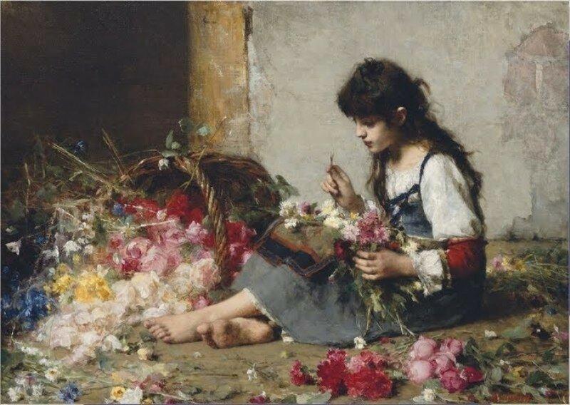 Alexei Alexeievich Harlamoff (or Alexej Harlamoff - Alexej Charlamoff) (Russian painter, c 1840–1925) A flower seller.jpg