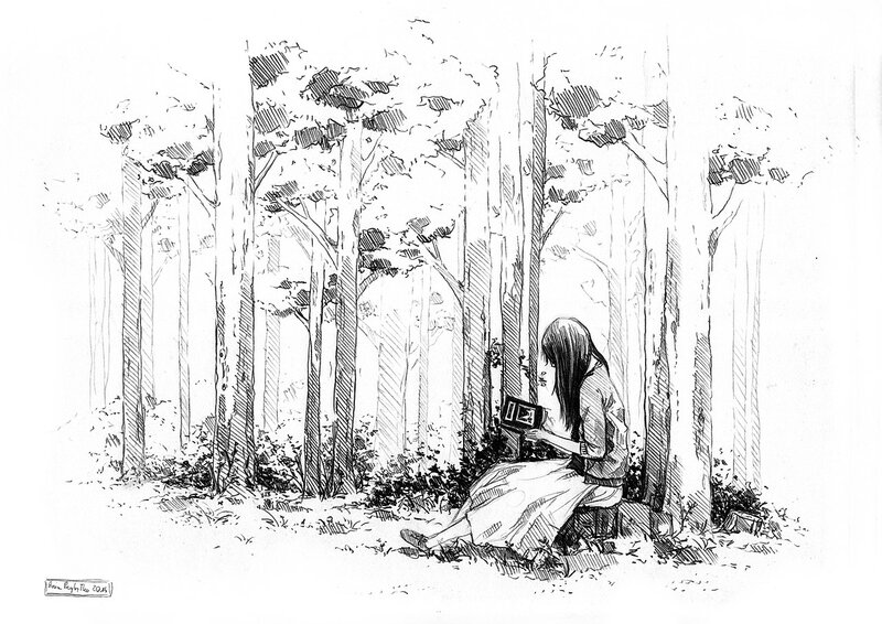 картинки человека на природе карандашом свободного лесу