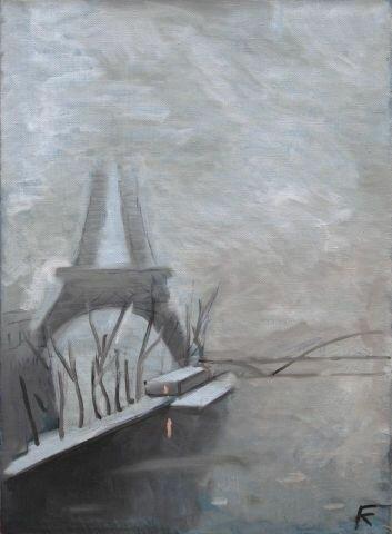 Эйфелева башня в тумане. 2009г. Холст, масло, 75х55 см.