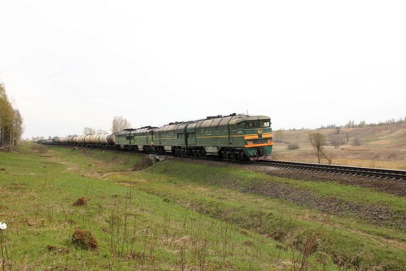 2ТЭ116-447 на перегоне Бартенево - Зубцов