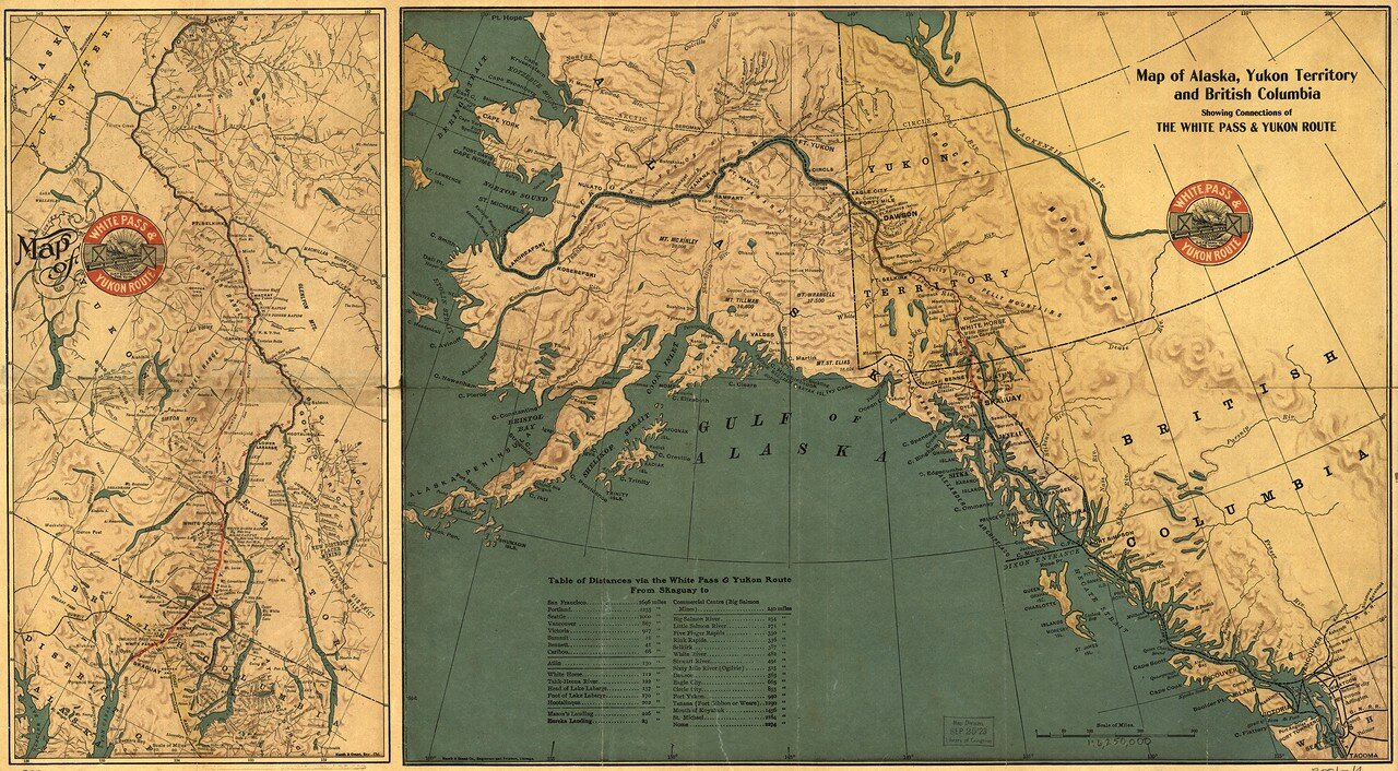 1904. Карта Аляски, территории Юкона и Британской Колумбии