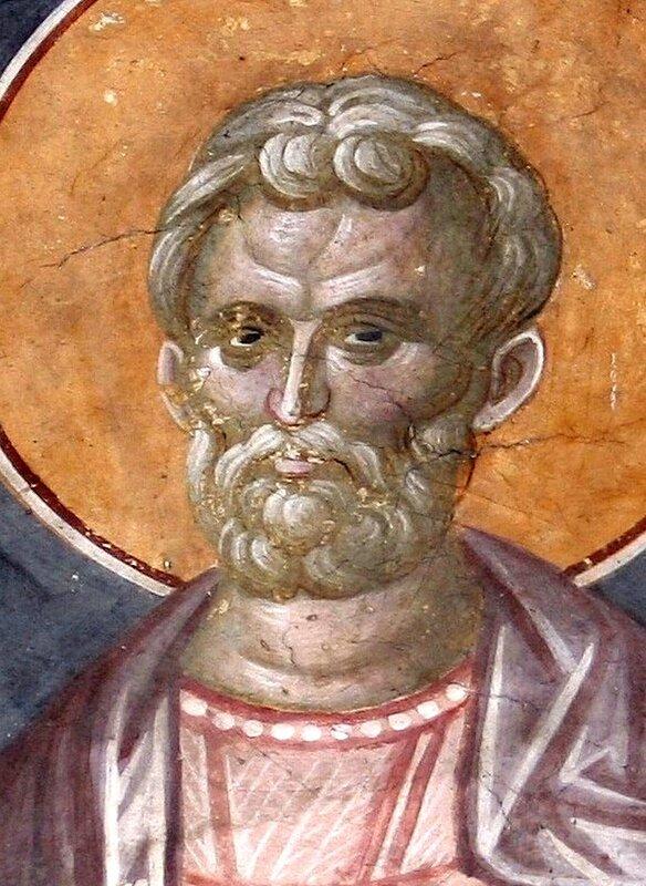 Святой мученик Роман, диакон Кесарийский. Фреска монастыря Грачаница, Косово, Сербия. Около 1320 года. Фрагмент.