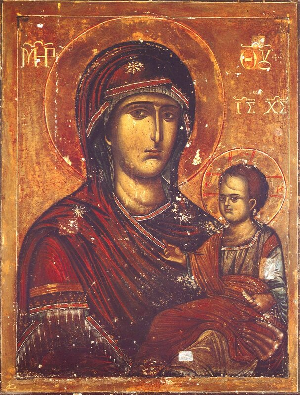 Попская (Иерейская) икона Божией Матери. Монастырь Хиландар на Святой Горе Афон.