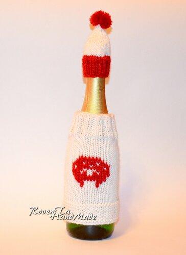 roventa-handmade, бутылка шампанского, наряд для бутылки, наряд для новогоднего шампанского, наряд для шампанского, свитер и шапка для шампанского, украшаем новогодний стол