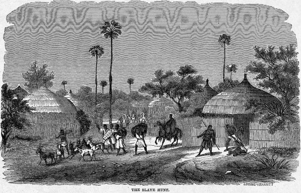 Процесс захват рабов в ходе нападения на африканскую деревню (Северная Нигерия, 1850-е годы)