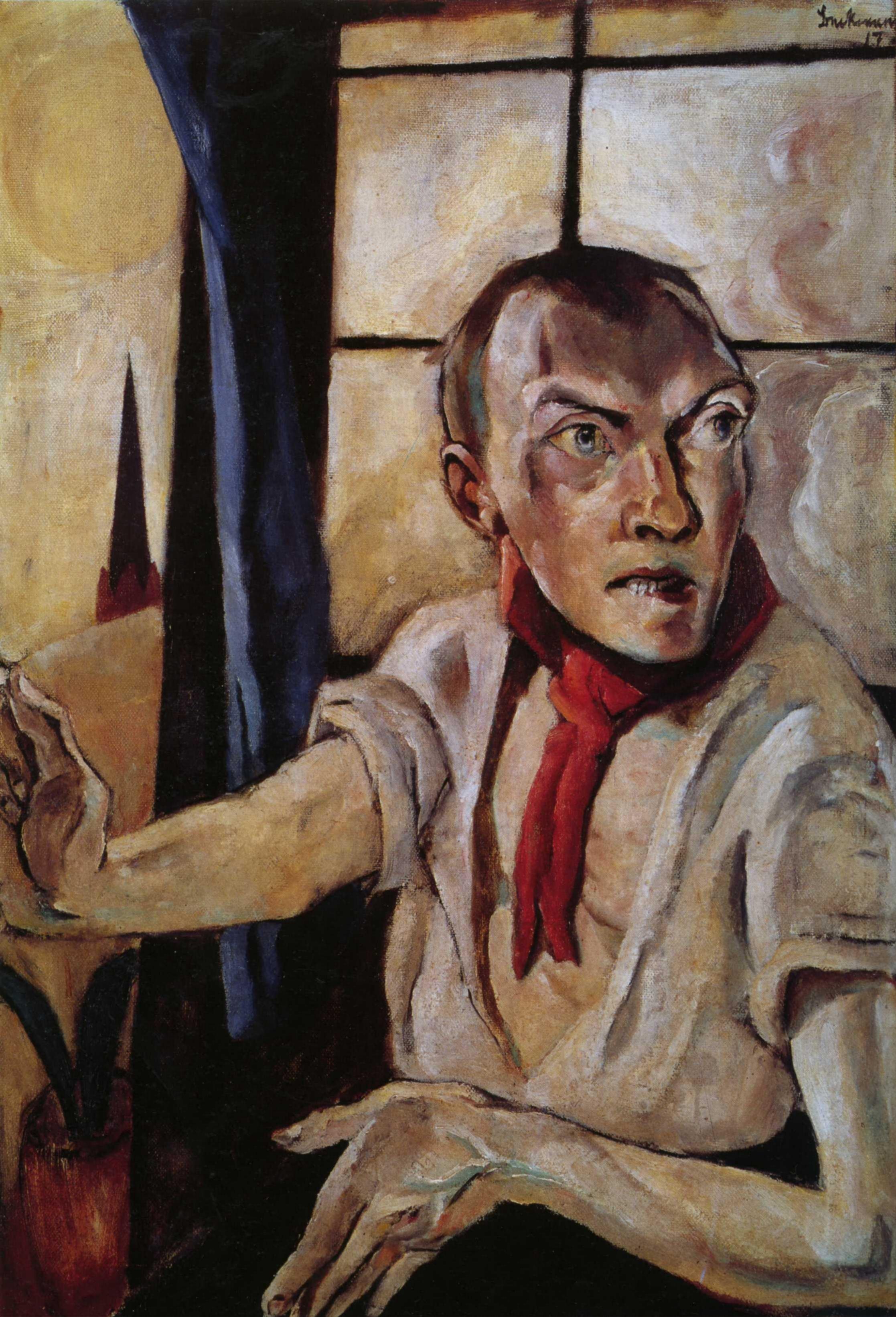 Макс Бекман. Автопортрет с красным шарфом. 1917