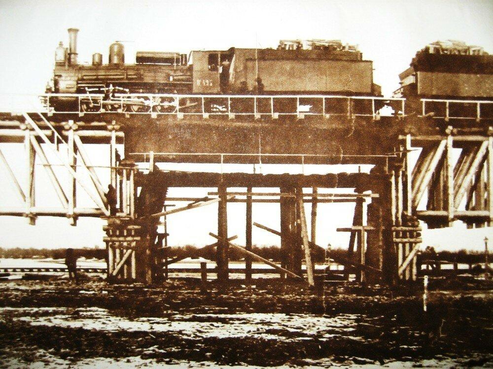 49. Испытания временного моста через реку Томи