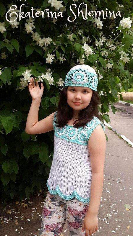 Топ, юбочка цвета мяты, шапочка и повязка
