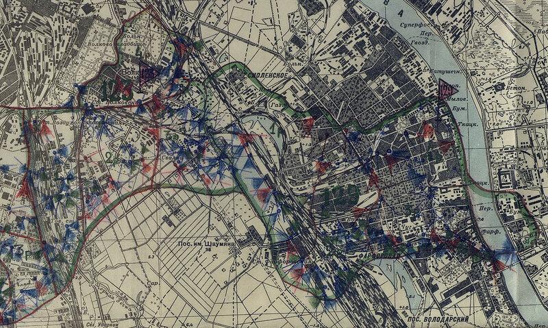 Карта огневых точек ОПАБов ВОГ на 15.07.43 (фрагмент)