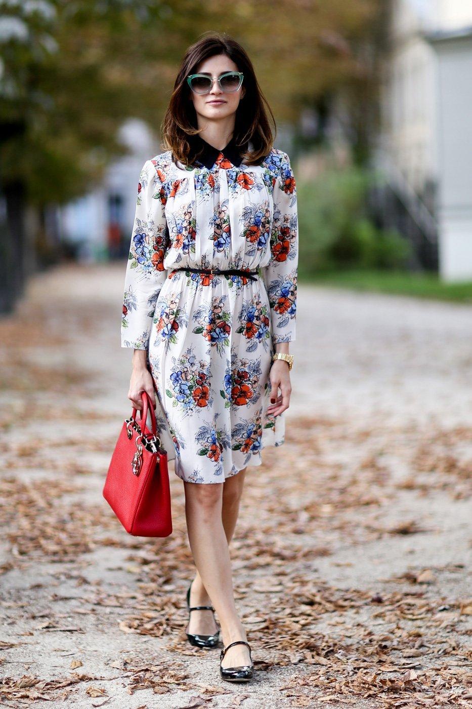 шифоновое платье с принтом, уличная мода Парижа 2015