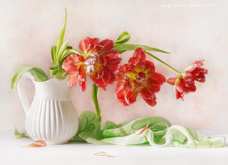 Букет красных тюльпанов в