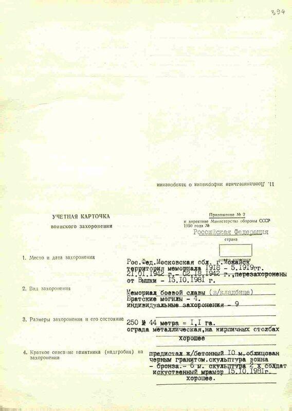 Учетная карточка воинского захоронения, Можайск, парк Победы