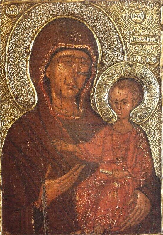 """Чудотворная икона Божией Матери """"Елеоточивая"""" (""""Элеовритисса""""). Монастырь Ватопед на Святой Горе Афон. XIV век."""