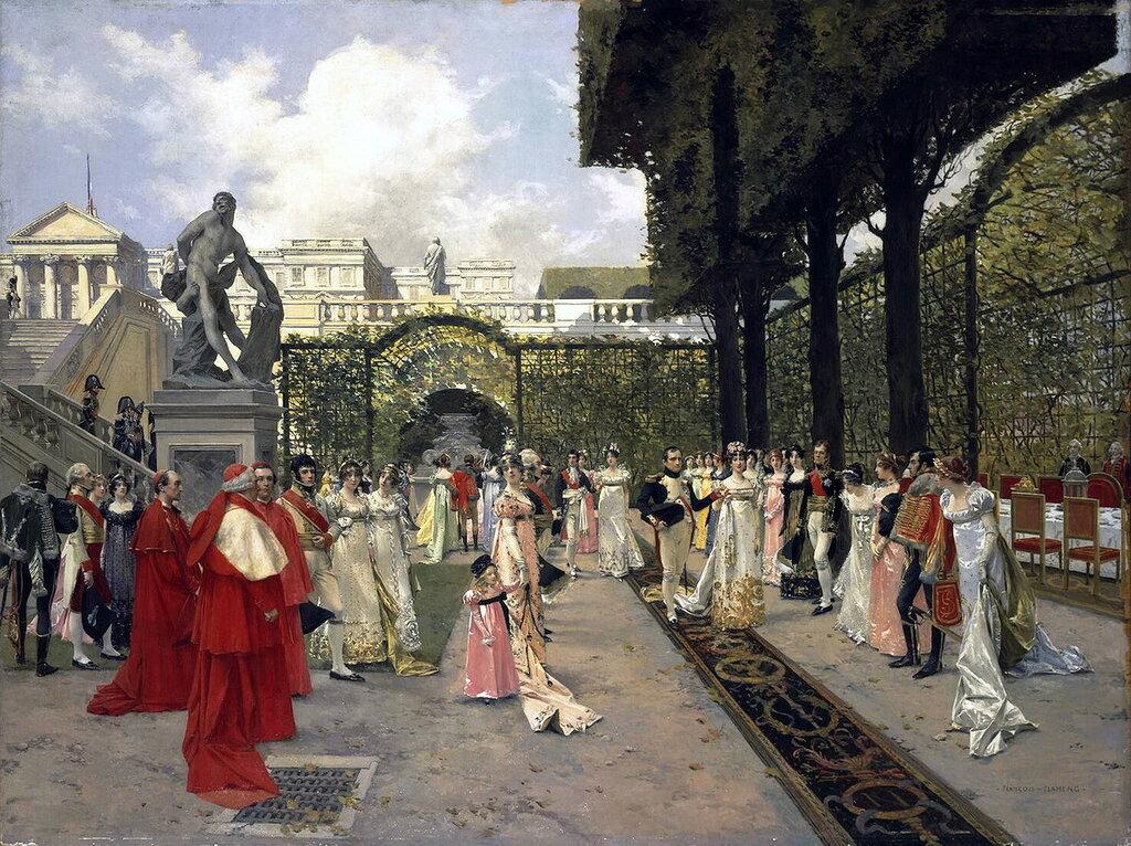 Эрмитаж: Фламенг, Франсуа - Наполеон I и папа Римский в Сен-Клу в 1811 г.