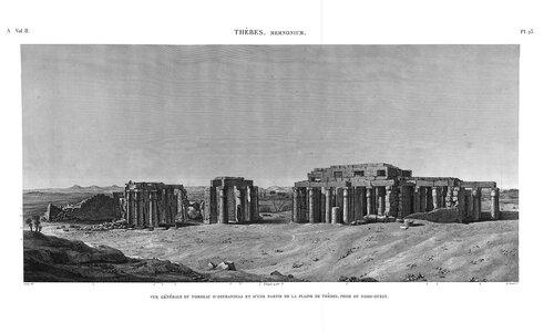 Рамессеум, храм фараона Рамсеса II, Египет, вид на руины с северо-запада, гравюра