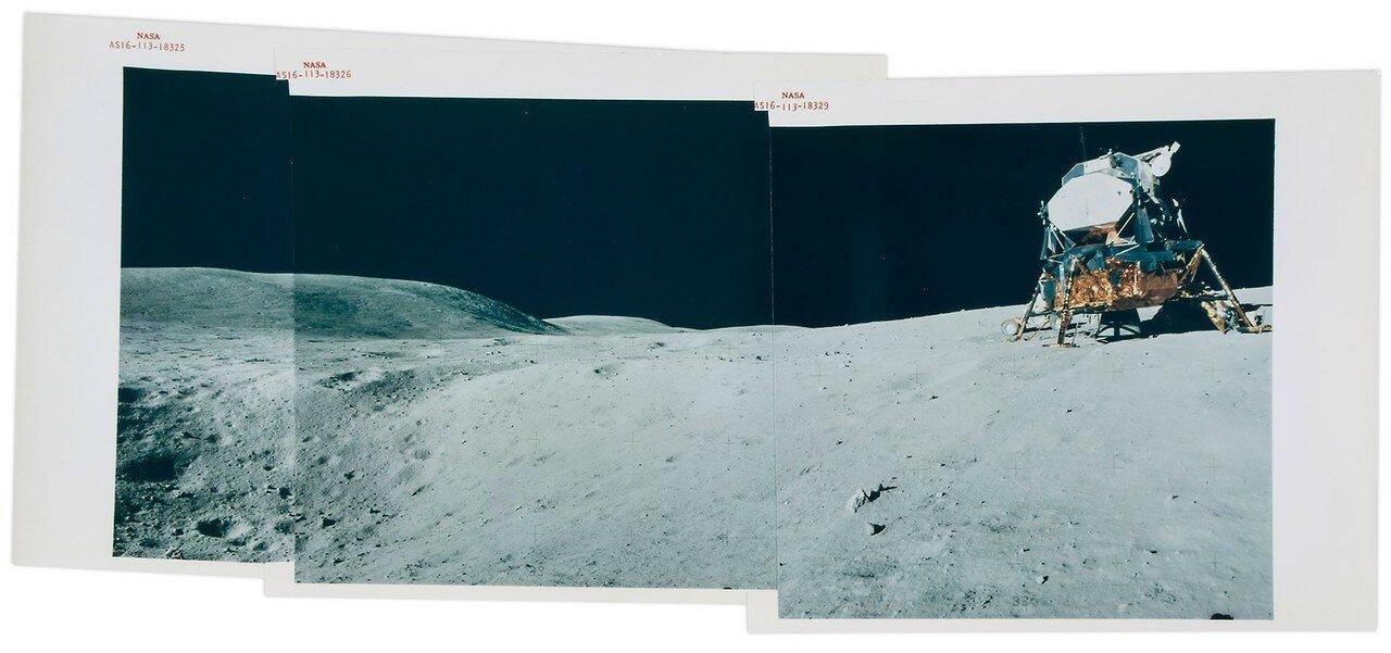 Примерно через четыре часа после начала первого выхода на поверхность Луны астронавты отправились в первую поездку на «Ровере». Им предстояло ехать к кратеру Плам. На снимке: Панорама с ЛМ на месте приземления
