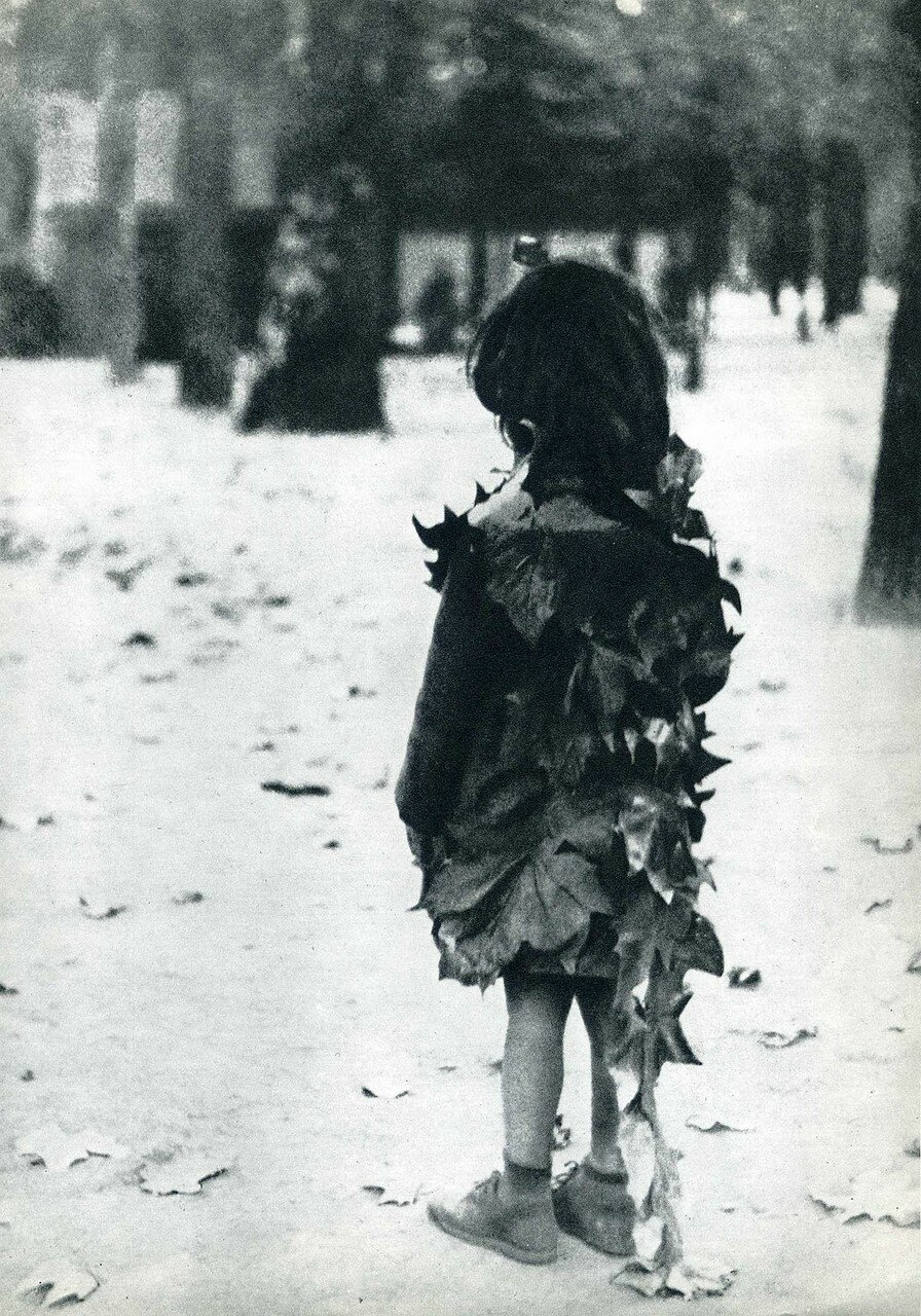 1946. Маленькая девочка с опавшими листьями. Люксембургский сад. Париж