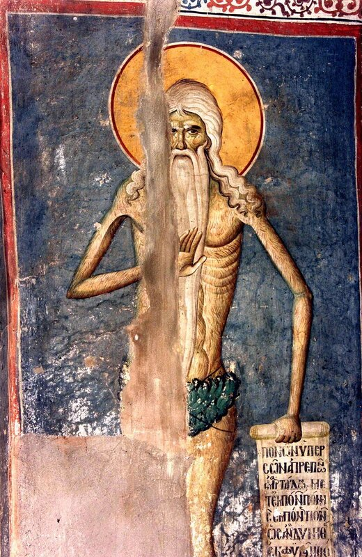 Святой Преподобный Онуфрий Великий. Фреска конца XIII века в монастыре Протат на Афоне. Иконописец Мануил Панселин.