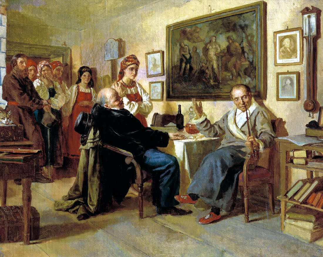 Торг. Сцена из крепостного быта. Из недавнего прошлого (1866 год)- художник Николай Неврев