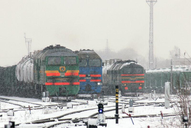 2ТЭ116-416, 2ТЭ116-0193 и Машка на станции Ржев-Балтийский