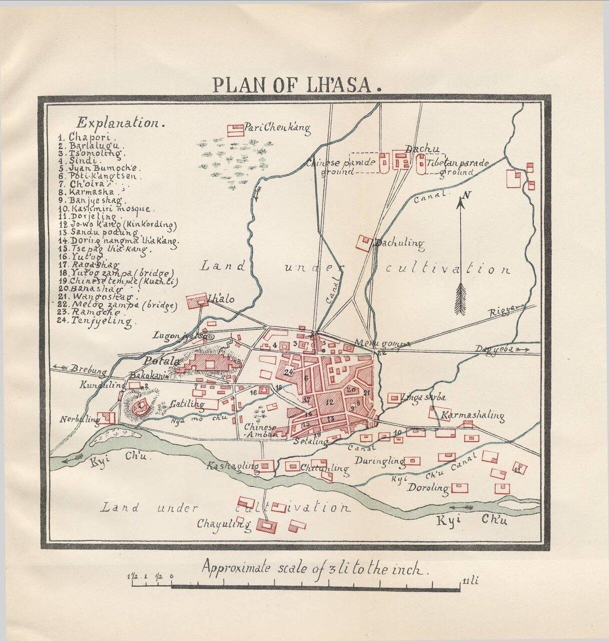 1891. План Лхасы, Тибет
