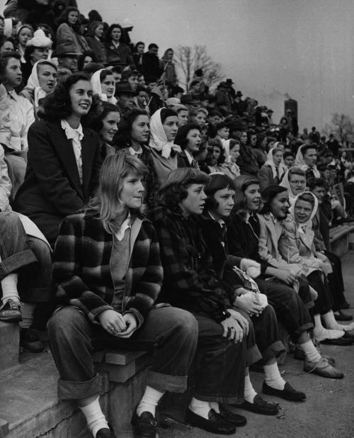 Teenage girls at a football game, Missouri, 1944.jpg