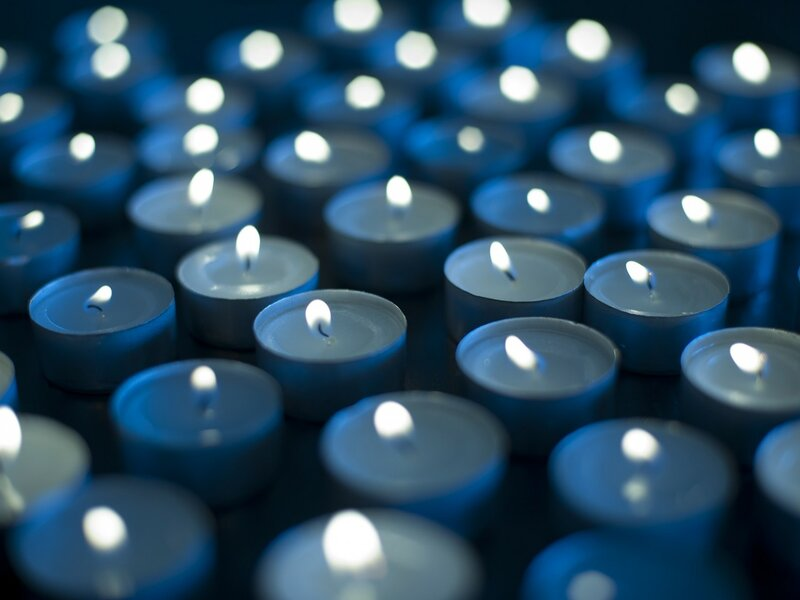 Blue candle white background