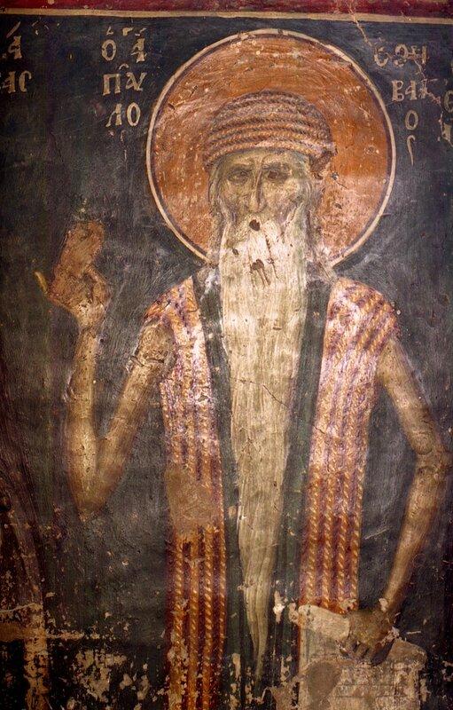 Святой Преподобный Павел Фивейский. Фреска церкви Св. Николая в Салониках. XIV век.