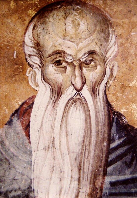 Святой Преподобный Евфимий Великий (?). Фреска монастыря Высокие Дечаны, Косово, Сербия. Около 1350 года.