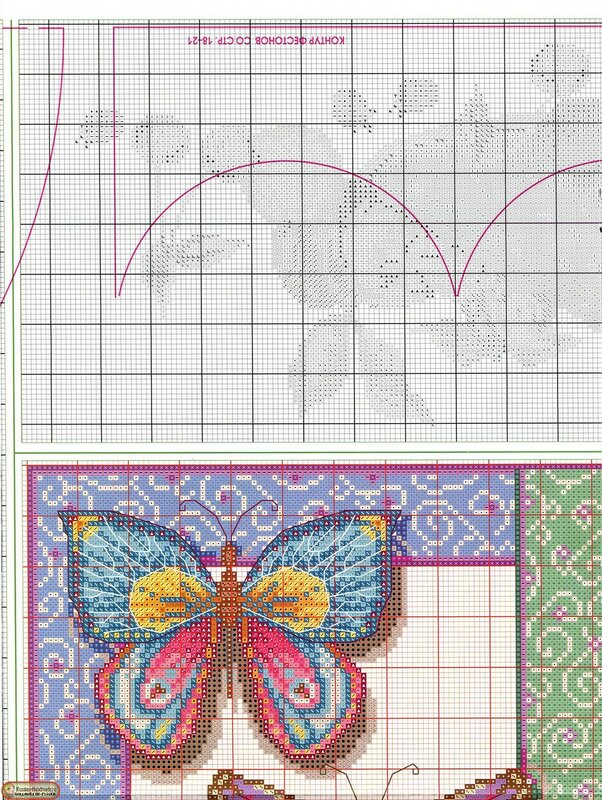 Бабочки — схемы вышивки