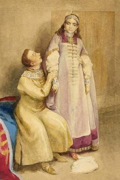 Лжедмитрий I и царевна Ксения Годунова (фрагмент) Клавдий Лебедев.jpg