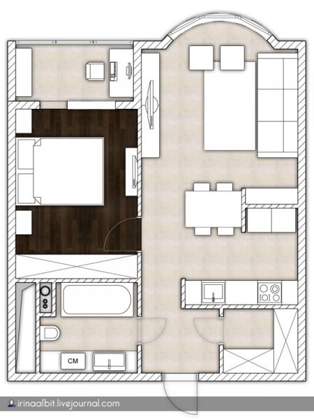 Изолированная спальня в однушке И-155