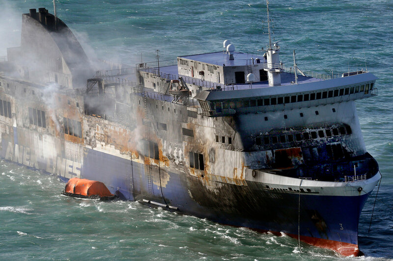 APTOPIX Italy Greece Ferry Fire