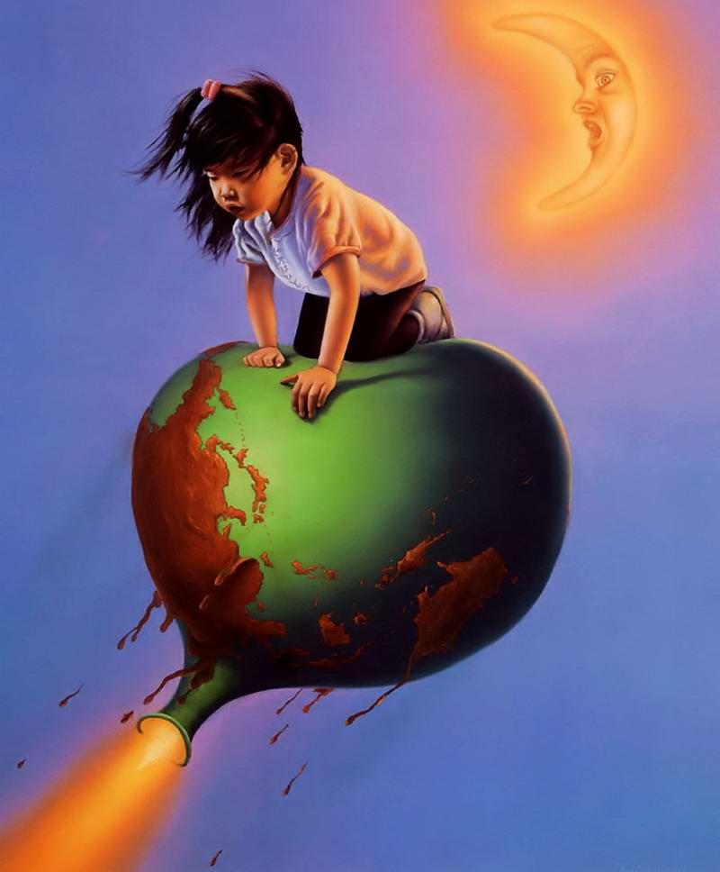Сдувающийся земной шарик