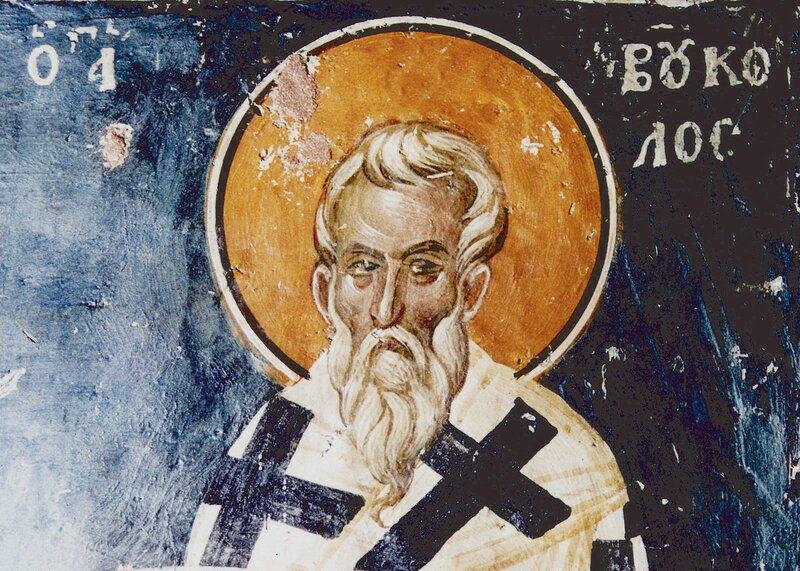Святой Преподобный Вукол, Епископ Смирнский. Византийская фреска XIV века в церкви Св. Николая в Фессалониках, Греция.