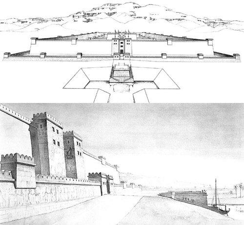 Дворец Рамсеса III в Мединет-Абу, реконструкция пристани и общего вида, чертежи