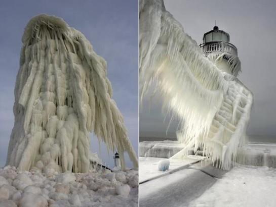 Томас Заковски. Фотографии замерзших маяков на озере Мичиган