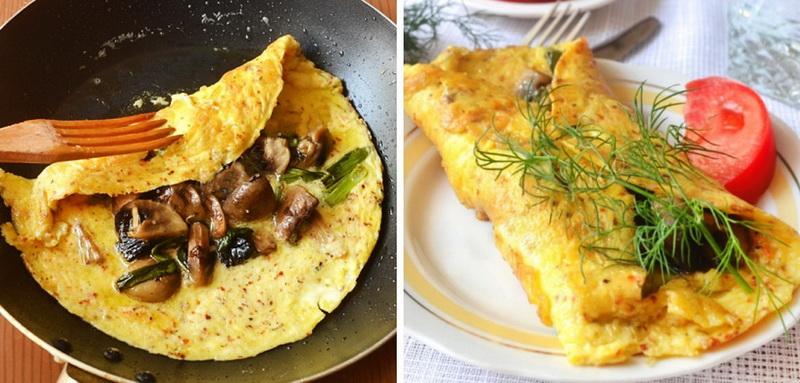 7. Омлет с грибами по-испански Ингредиенты: шампиньоны — 4–5 грибочков; яйца — 2 штуки; зеленый лук
