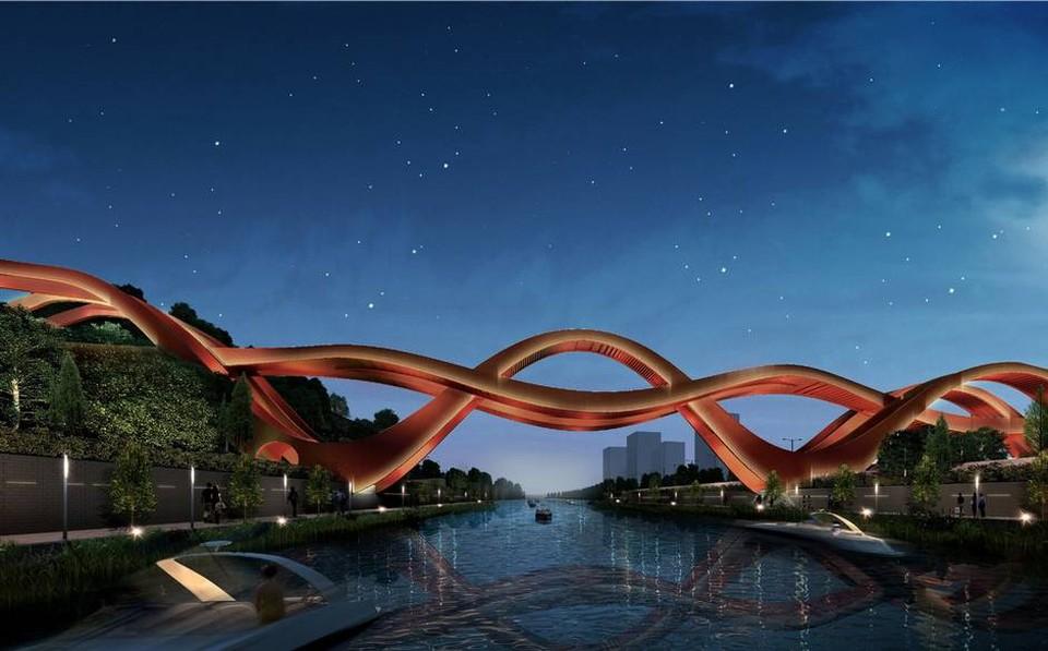 Дизайн моста выполнен в виде лент Мёбиуса. Закручивающийся мост