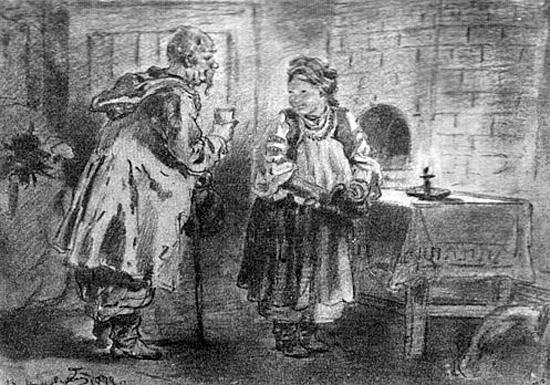 Николай Васильевич Гоголь - Ночь перед Рождеством - Иллюстрация В. Маковского - Голова у Солохи, 1877 г.